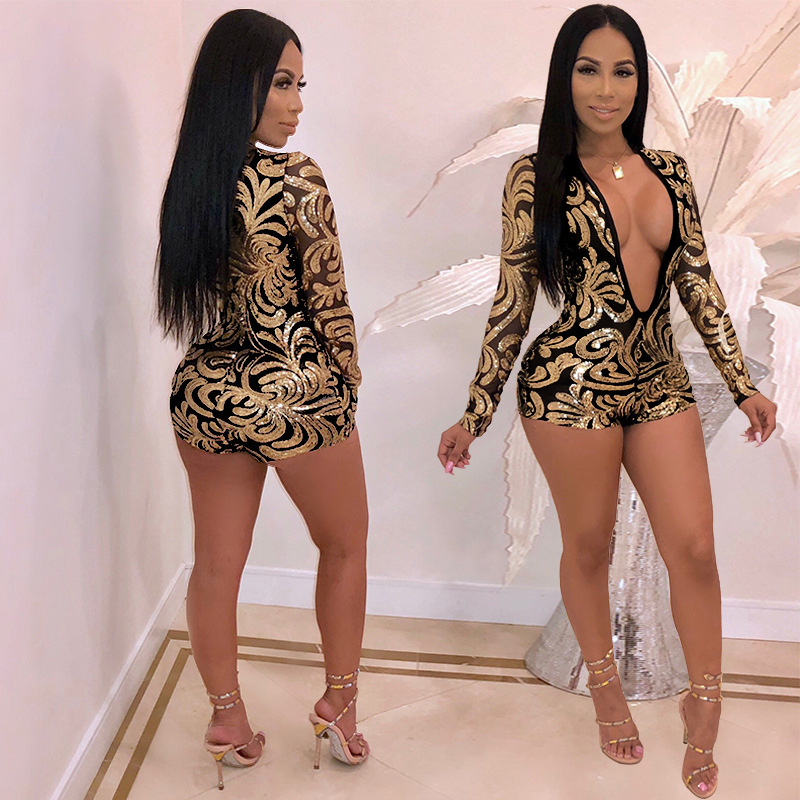 Deep V Neck Playsuits Women Sequin Printed Romper Playsuits Bodysuit Fashion Long Sleeve Sexy Bodycon Jumpsuit Clubwear Pants