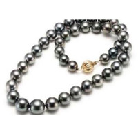 free shipping noble jewelry stunning AAA10 11mm tahitian black green pearl necklace 14k