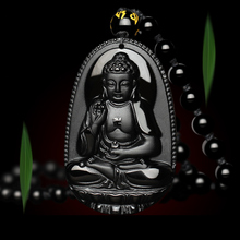 Fashion Natural Obsidian Buddha Necklace For Men Women Scrub Head Pendant Black  Jade Jewelry Fine