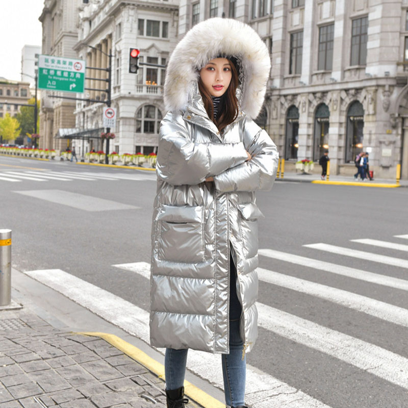 2019 White Duck Down Waterproof Silver Winter Jackets Women Real Fur Collar Hooded Coat Female Long Down Jacket Warm Parka YRF44