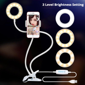 Image 4 - Dimmable LED Selfie Ring Light Camera Phone USB ring lamp Photography Fill Light with Phone Holder Stand For Makeup Live Stream