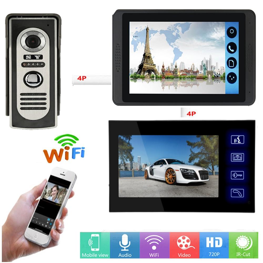 APP Control Video Intercom 7 Inch LCD Wifi Wireless Video Door Phone Doorbell Visual Speakerphone Intercom System Remote Unlock