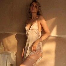 Hot Instagram แฟชั่นผู้หญิงเซ็กซี่ไม่สม่ำเสมอ Nightgowns ฤดูร้อน Nightdress Temptation ลูกไม้ดอกไม้ด้านข้างแยกชุดนอน