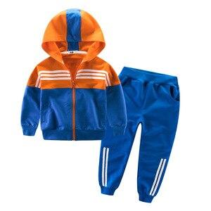 Image 4 - Kinder Kleidung Sport Anzug Für Jungen Und Mädchen Mit Kapuze Outwears Langarm Unisex Mantel Hosen Set Casual Trainingsanzug