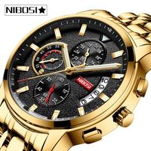NIBOSI erkek saatler Relogio Masculino üst marka lüks reloj İzle erkekler moda spor kuvars su geçirmez iş erkek saat