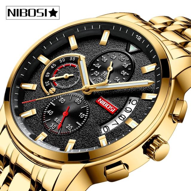 Relojes NIBOSI para hombre, reloj Masculino de marca superior de lujo, reloj deportivo de cuarzo a la moda para hombres, reloj de negocios resistente al agua para hombres