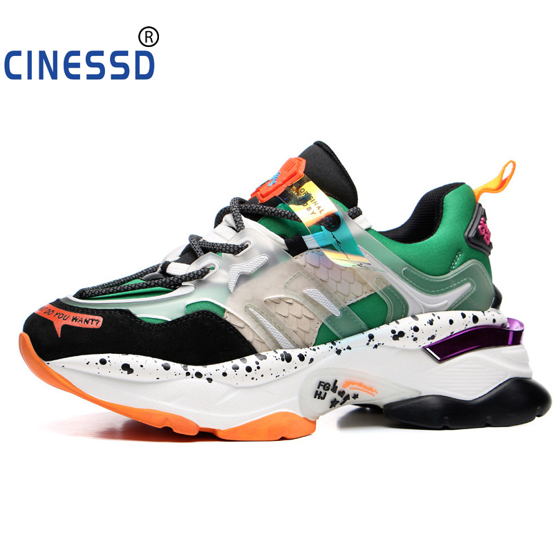 CINESSD 2019 Sneakers Women Trendy Chunky Dad Shoe Laces Platform Shoes New Color Matching Camouflage Sneakers Chaussures A3