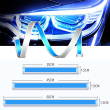 Car LED DRL Strip Daytime Running Lights Turn Signal Bulb Flexible Waterproof Auto 30 45 60cm White Yellow Brake Flow Lamp 2pcs