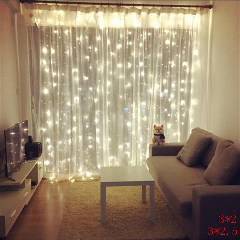 AC220V 3M Width X 2M Height 180LED Christmas Garlands String Christmas Light Party Garden Wedding Decor Curtain Fairy Lights