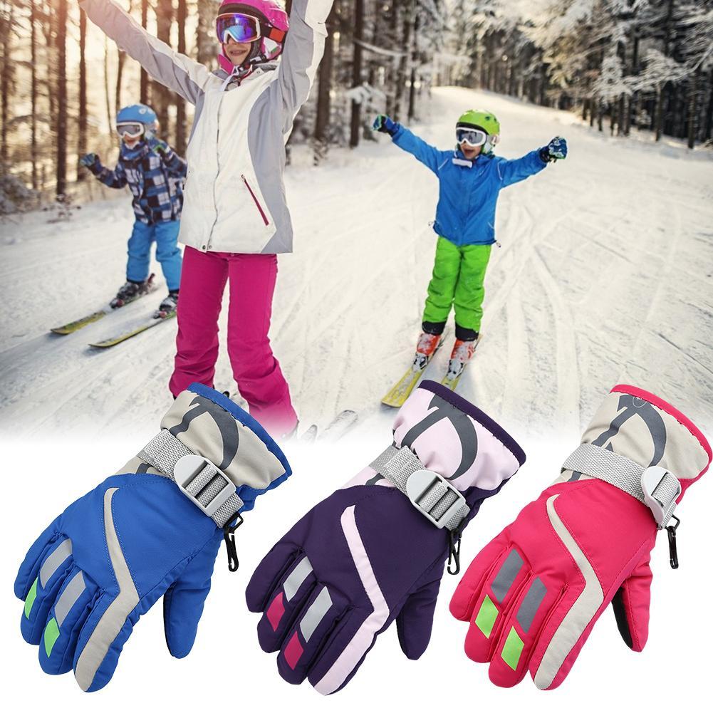 Children Kids Winter Snow Ski Skiing Gloves Warm Waterproof Windproof Mittens US