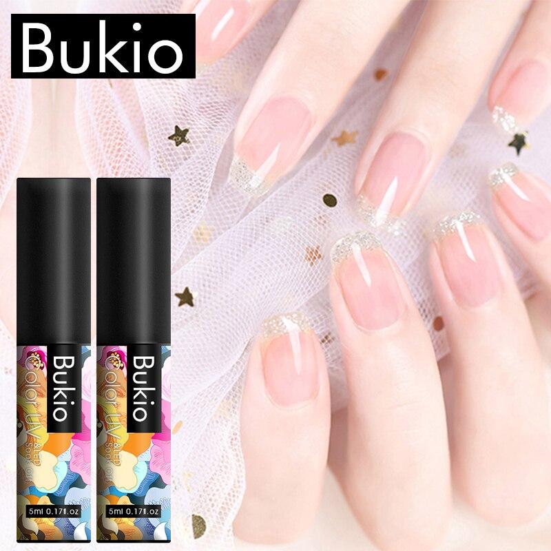 Bukio Glitter Rainbow Pure Color Gel Nail Polish Set UV Semi Permanent Manicure 60+ Colors Soak Off Hybrid Gel Varnish Nail Art