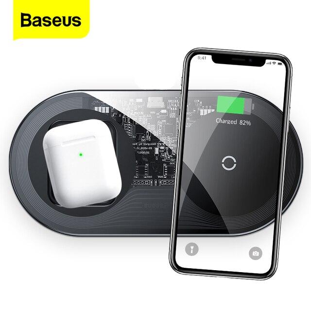 Baseus 2 in 1 Qi kablosuz şarj Airpods iPhone 11 Pro Xs Max XR X 15W hızlı kablosuz şarj pedi Samsung not 10 S10