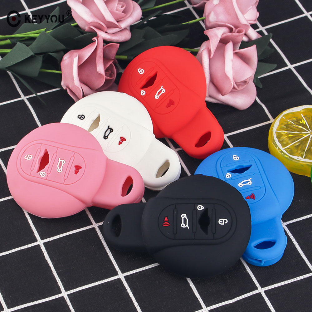 KEYYOU Silicone Car Key Cover Case Car Styling For BMW <font><b>MINI</b></font> Cooper S R50 R53 F54 F55 <font><b>F56</b></font> 4 Buttons Remote Key <font><b>Holder</b></font> Cover image