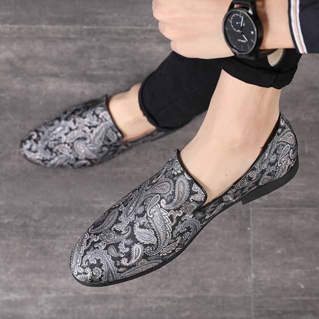 Print Shoes Men Suede Loafers Slip On Casual Shoe Breathable Comfort fashion Shoes Mens Flat Loafer Mocassin Homme
