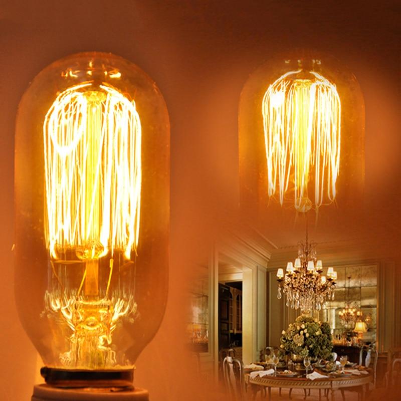 E27 Vintage Retro Edison Bulbs Spiral Light Handmade Glass Industrial Style G80 T45 A19 Tungsten Bulb Pendant Lamps Lighting