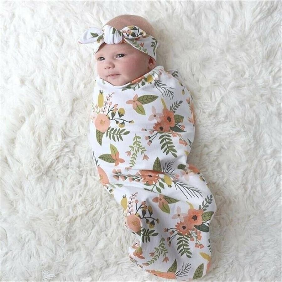 2019 Brand New Toddler Infant Baby Boy Girl Floral Swaddle Muslin Blanket Wrap Swaddle Blankets