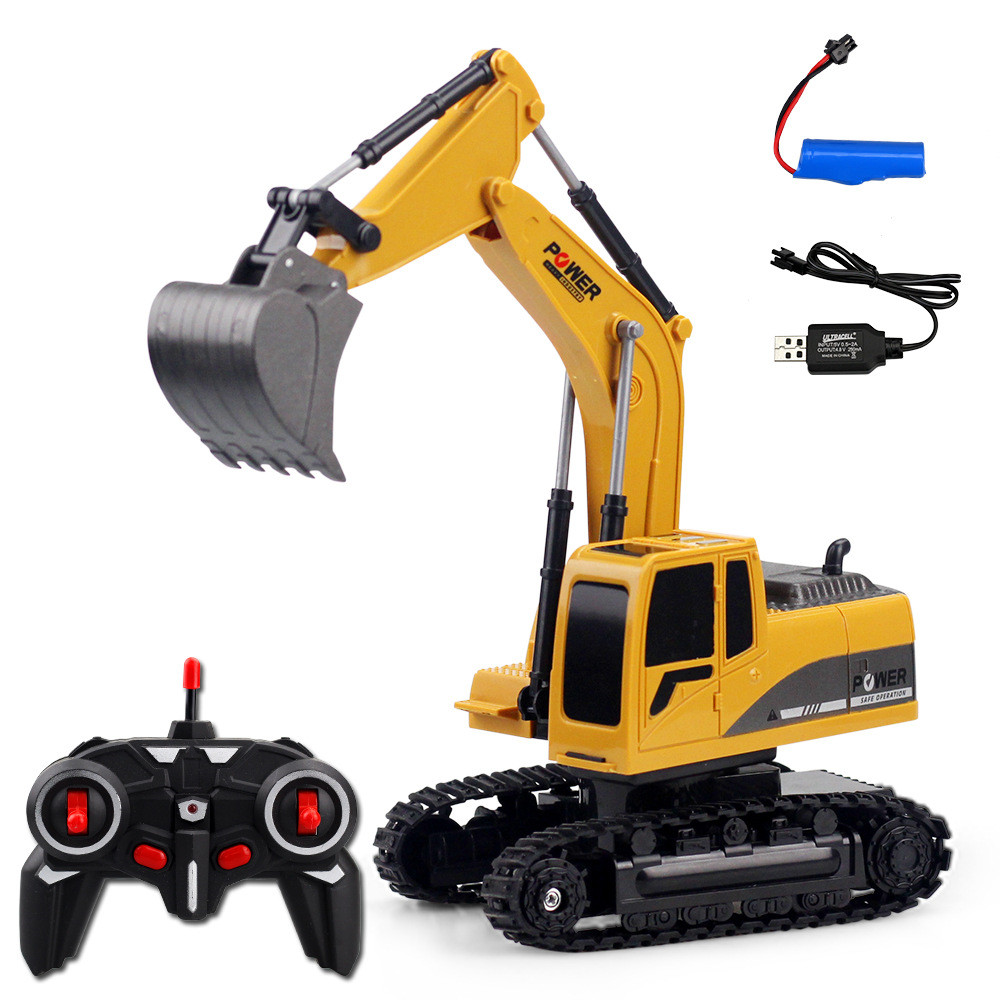 RC Cars Remote Control Toys 1:24 ,6 Channels 2.4G Metal Excavator Charging Simulation Yellow Metal+ABS Transmitter Mini Gift Toy