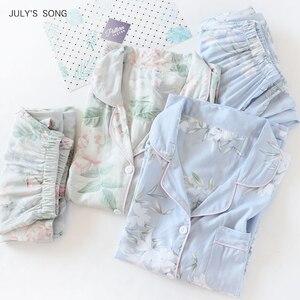Image 2 - Julysong s canção feminina algodão pijamas conjunto floral impresso 2 peças sleepwear simples macio mangas compridas feminino outono inverno homewear