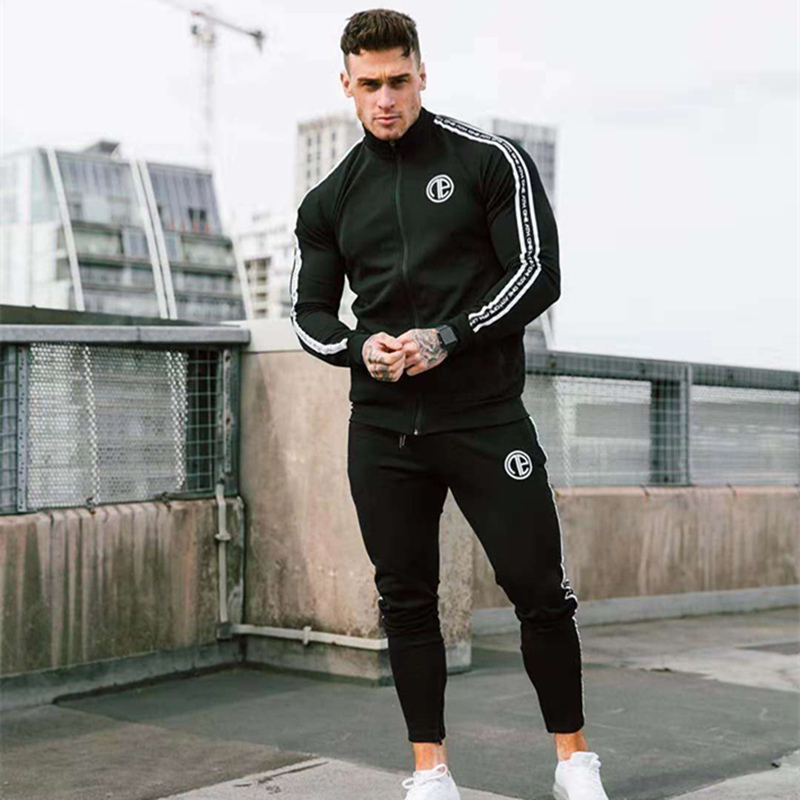 Mens Sports Suits Running Gym Tracksuit Men Set Sports Top Jogging Set Fitness Bodybuilding Sports Suits Mens Hoodie+Pants Suit