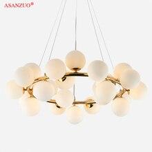 Magic Bean Modern Glass LED Pendant Chandelier Lights black Gold Bar hanging light Dining G4 Pendant Lamp Retro LOFT chandelier