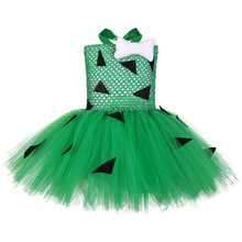Green Flintstones Inspired Pebbles Bam Tutu Costume Dress Kids Black Pattern Halloween Outfit Set Cavegirl Cosplay Dresses