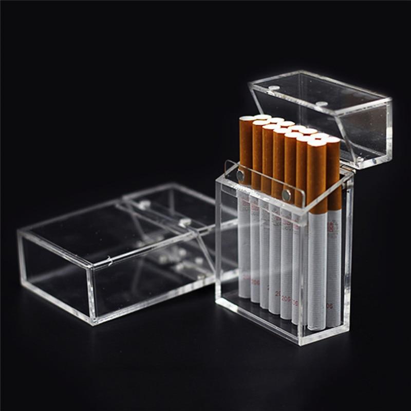 Caja de cigarrillos gruesa y portátil, caja de almacenamiento de mechero, transparente