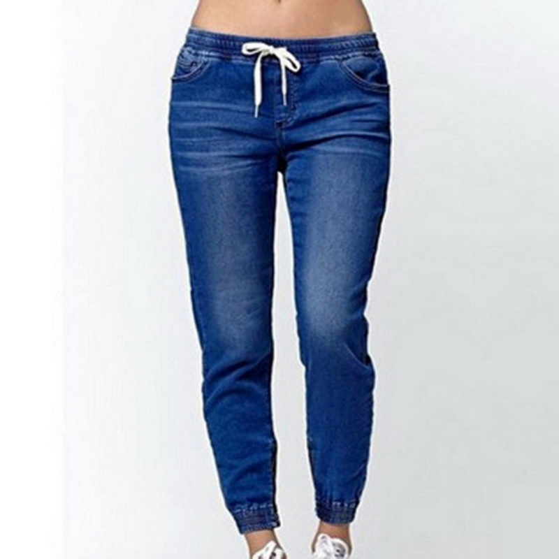 NIBESSER High Waist Women Jeans Buttons Female Pant Slim Elastic Plus Size Stretch Jeans Plus Size Denim Blue Skinny Pencil Pant 2