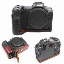 Bolsa de cuero genuino Retro Para Cámara, funda protectora de media cubierta del cuerpo para cámaras digitales Canon EOS R5 R6