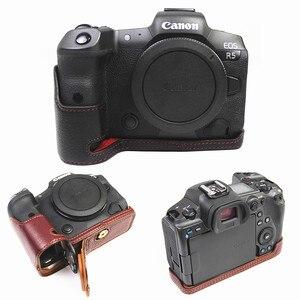 Image 1 - Retro Genuine leather Camera bag Protective Half Body case cover For Canon EOS R5 R6 digital cameras