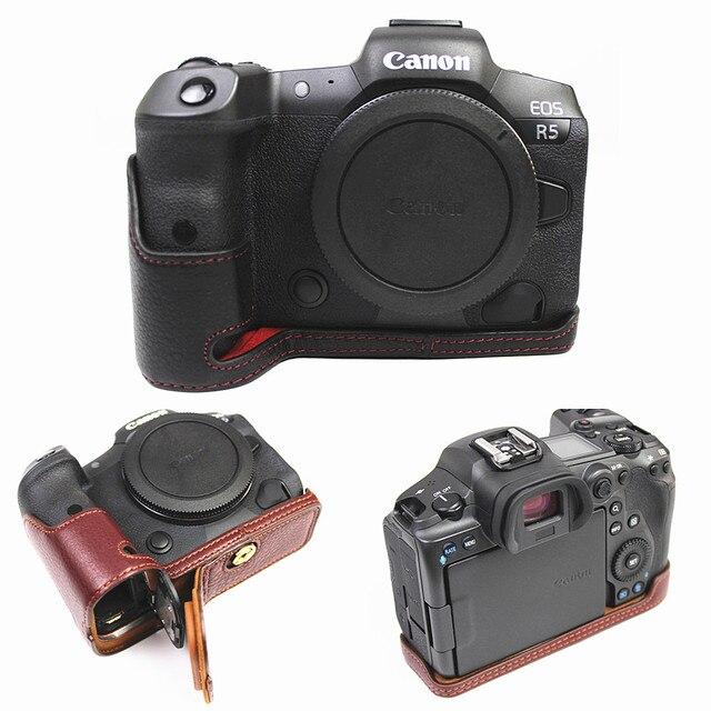 Retro Genuine leather Camera bag Protective Half Body case cover For Canon EOS R5 R6 digital cameras