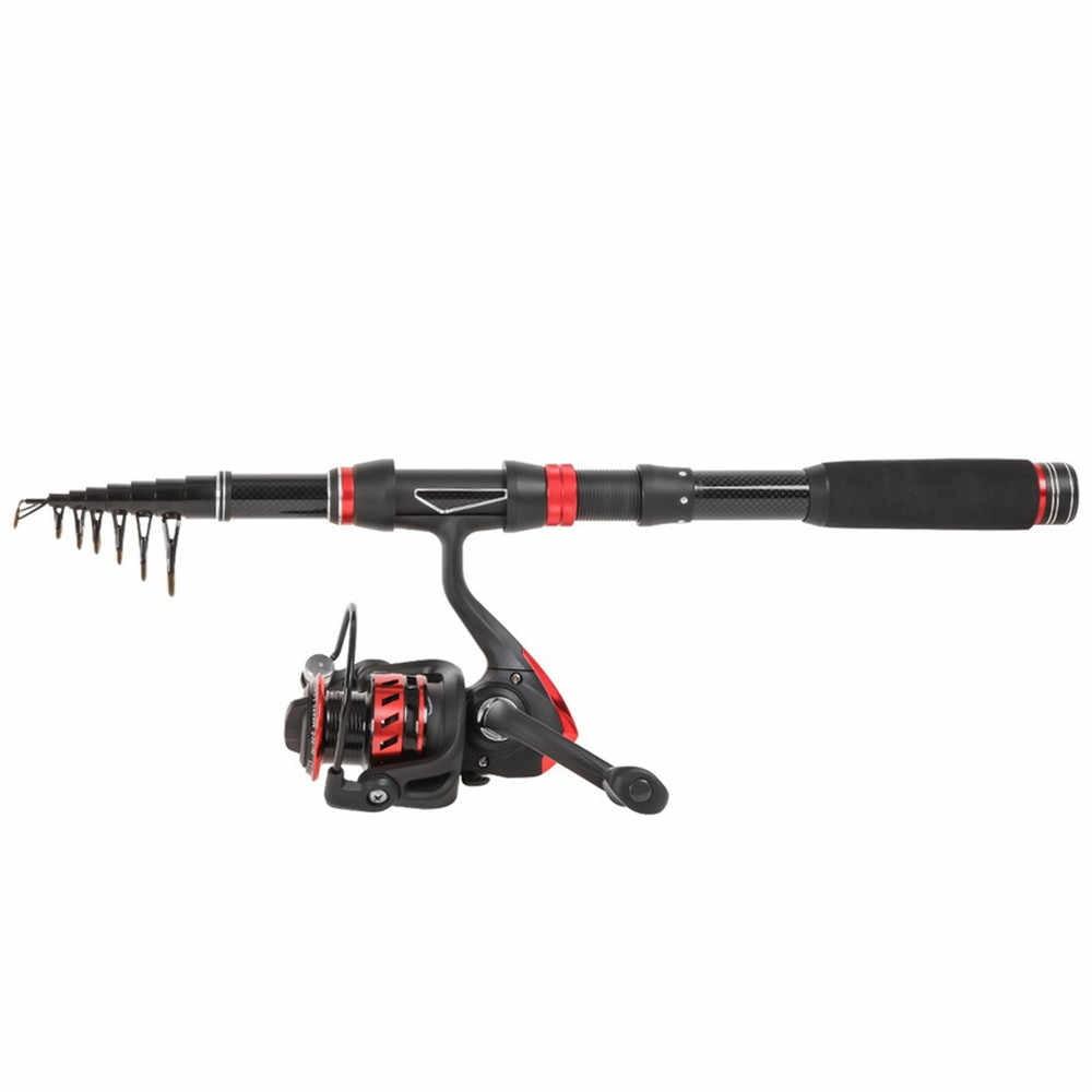 1.8 M-3.0 M canne à pêche télescopique Portable et bobine Combos canne à pêche en Fiber de carbone moulinet Kits complets sac pour eau douce salée