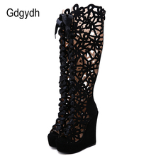 Gdgydh Hollow Out Over The Knee Wedge Boots Women Fashion Nightclub Party Shoes For Autumn Lace Up Open Toe Female Sexy