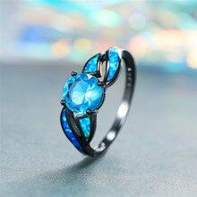 цена Vintage Female Unique Cross Round Ring Charm Black Gold Wedding Rings For Women Promise Blue Fire Opal Engagement Ring онлайн в 2017 году