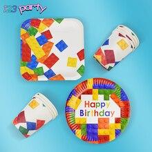 8 Chiếc Lego Đảng Dùng Một Lần Bộ Đồ Ăn Tấm Cốc Trẻ Em Sinh Nhật Cho Bé Đồ Trang Trí Vật Dụng