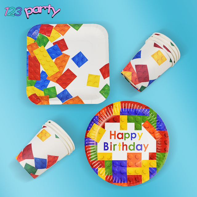 8個レゴパーティー使い捨て食器プレートカップ子供の誕生日パーティーベビーシャワーの装飾用品