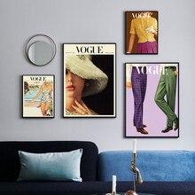 Affiche de vêtements en Vogue, édition printemps-automne, rétro, mode hommes femmes, toile, peinture artistique murale, images murales, décor de chambre moderne