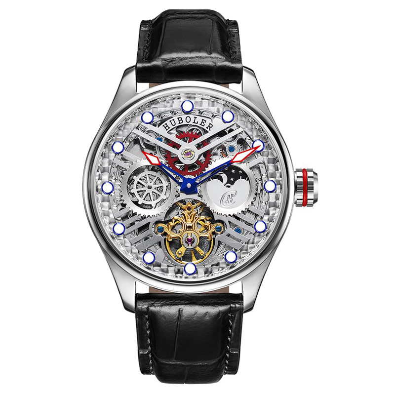 47MM Huboler Multi-function Men Tourbillon Mechanical Watch Calendar Moonphase Dial Mens Tourbillon Automatic Wrist Watches