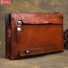 Handmade Men Long Casual Large Capacity Handbag Multi Card Holder Clutch Bags First Layer Cowhide Retro Original Vintage Soft