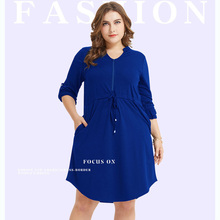Fashion Plus Size Solid Dress for Women Summer Half Sleeve Stand Neck Zipper Casual Beach Lady Knee Length