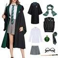 Халат Слизерин для детей и взрослых, костюм-накидка для детей, мужская и женская Волшебная школьная форма, костюм волшебника для косплея, ко...