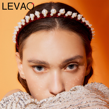 LEVAO Pearl Crystal Headband Women Hairband Bezel Turban Fashion Female Girls Headwear Hair Accessories Head Hoop Headwear Lady