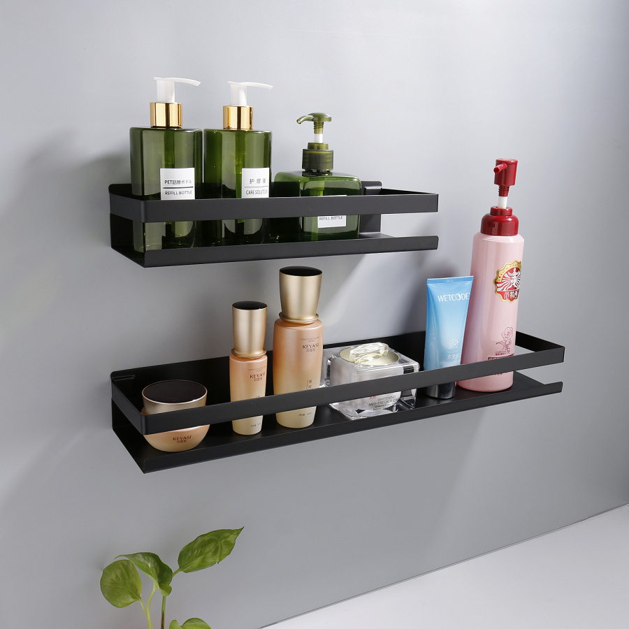 Bathroom Accessories 20-50cm Modern Matt Black Bathroom Corner Shelves Kitchen Wall Shelf Shower Bath Shampoo Storage Rack