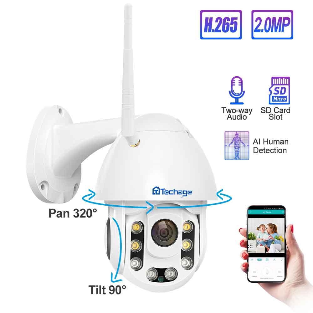 Techage IP Camera 1080P PTZ Wifi Camera AI Human Detection Abnormal Sound Alarm Home Security Camera Outdoor Waterproof CCTV