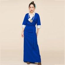 Женская одежда в азиатском и тихоокеанском стиле длинное платье