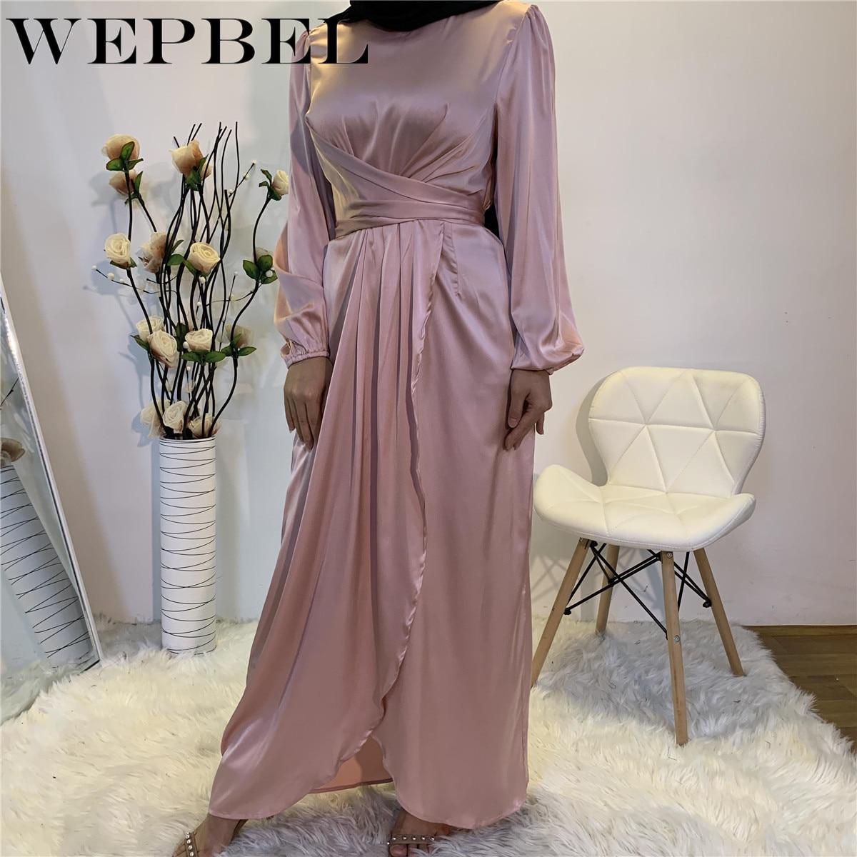 WEPBEL Fake Two Pieces Long Sleeve Party Maxi Dress Women's Fashion Islamic Muslim Kaftan