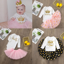 It's My Half Birthday Baby Girl Party Dress Cute Pink Tutu Cake Outfits Baby Shower Gift Girls Baptism Clothes Without Glitter