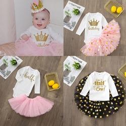 Es ist Mein Halb Geburtstag Baby Mädchen Party Kleid Nette Rosa Tutu Kuchen Outfits Baby Dusche Geschenk Mädchen Taufe Kleidung ohne Glitter