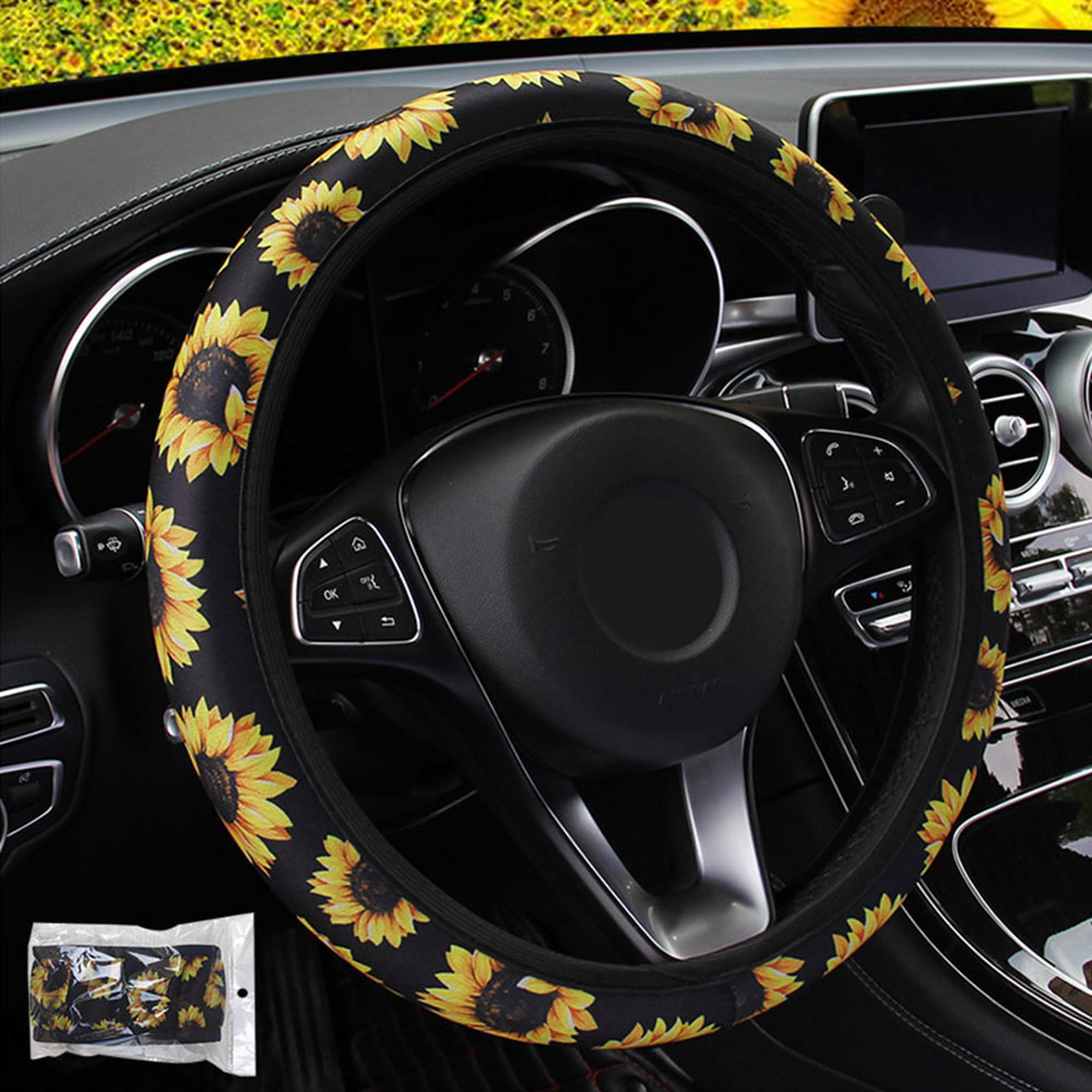 Fashion Car Styling Auto Non Slip Universal Stretchy Neoprene Sunflower Floral Print Steering Wheel Cover Interior Accessories