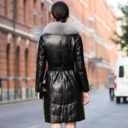 Genuine 2020 Leather Jacket Women Autumn Winter Long Pure Fox Fur Collar Thick Down Women's Leather Jacket Plus Size 6XL HJ517