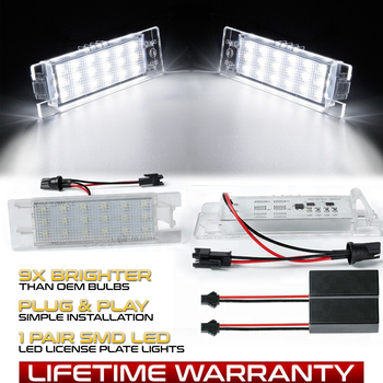 2Pc LED Number License Plate Light Lamps For Opel Astra K J H Corsa D E C Meriva A B Zafira B Insignia Vectra C Adam or Vauxhall 2pcs 12v smd 3528 white light 18 leds license plate light lamp for vauxhall opel astra corsa d astra h zafira b canbus no error